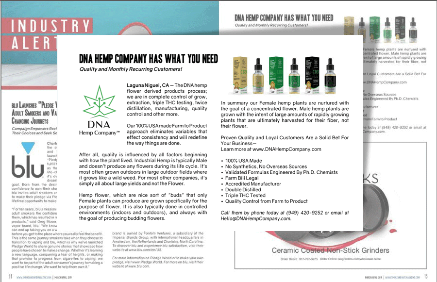 DNA Hemp Company CBD Industry Alerts 2019 news